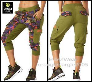 Zumba Club Camo French Terry Cargo Capri Dance Pants Hip-Hop Soft ... 01ca651c981