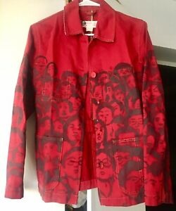 Rare-Vtg-Handpainted-Patricia-field-Red-Faces-Popart-Art-To-Wear-Jacket-M-Unisex
