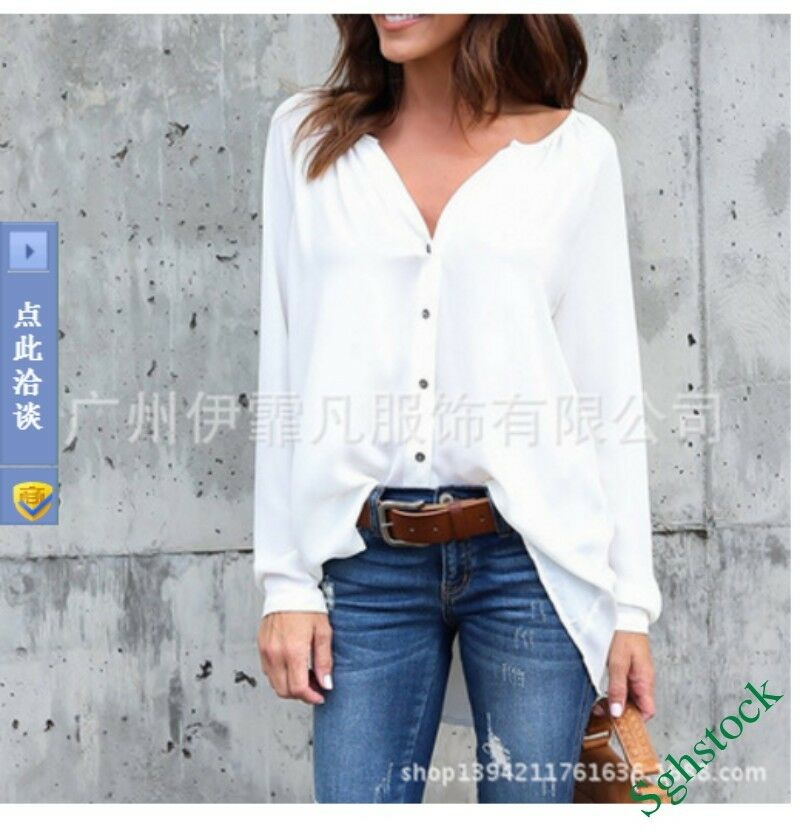 Fashion Basic Women's Loose Fit Button Long Sleeve Shirts Tops OL Blouse Z-58