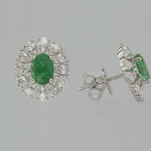 2-36CT-Emerald-and-Diamond-Earrings-F-SI-18K-White-Gold-0-50-039-039