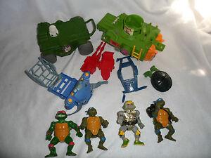 Vintage-1989-TMNT-Tennage-Mutant-Ninja-Turtles-Mixed-Lot-Mirage-Playmate-Vehicle