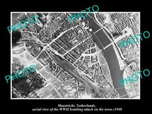 OLD-POSTCARD-SIZE-MILITARY-PHOTO-MAASTRICHT-HOLLAND-AERIAL-VIEW-BOMBING-c1940