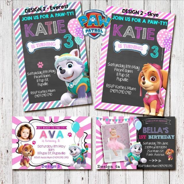 Personalised PAW PATROL Everest Skye Photo Birthday Invite Invitations girl card