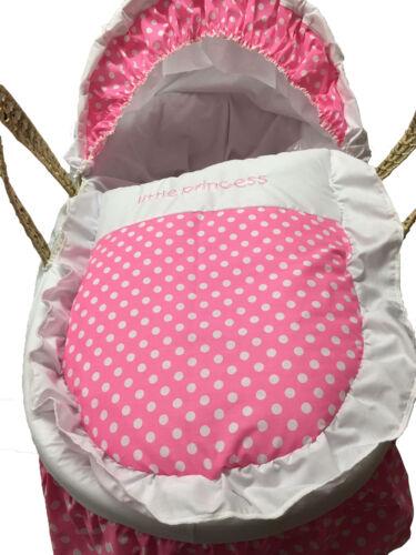 Mother Nature Inspired Baby Moses Basket Bedding//Dressing Pink Polka Dots