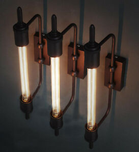 Rare special design vintage industrial edison wall lamp bulb tube
