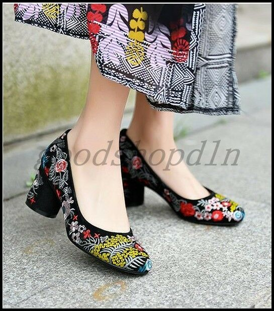 Folk Custom Womens Suede Embroider Floral Block Heels Pumps Slip On Casual Shoes