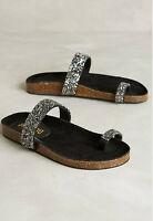 Anthropologie Bibi Lou Star-gaze Sandals Flatform Slides 6.5 Euro 37 Silver