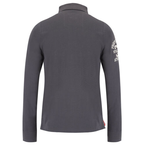 Mens Polo T Shirt Stallion Long Sleeve Cotton Collared Pique Casual Top New