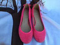 🔥Women J.CREW Jcrew Ballet Flats Hot Pink Mesh Leather Shoes Size 7 Made Italy
