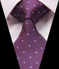Mens Tie Purple Polka Dot Jacquard Woven Classic Silk Necktie Wedding