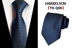 Corbata-Seda-Azul-Marino-pattterned-Boda-Azul-100-seda-MENS-corbata-vendedor-del-Reino-Unido