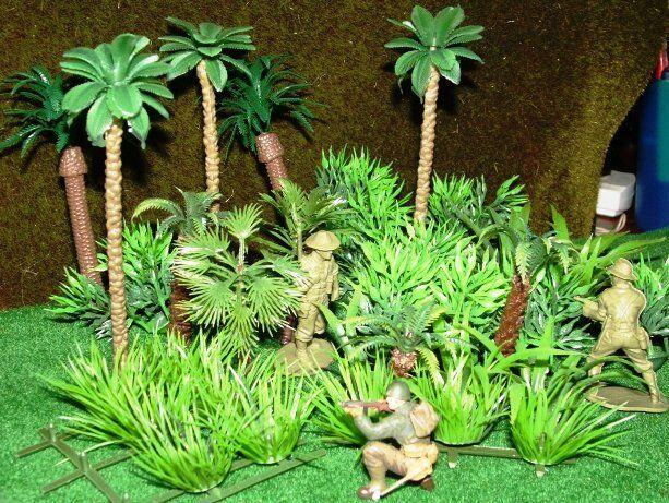 40 Rainforest Jungle Palm Trees Plants Grasses Tropical Plastic 1/87 -1/35  scale