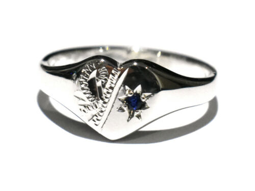 Details about  /Ladies Sterling Silver Signet Ring Heart Real Sapphire British Handmade Size K-R