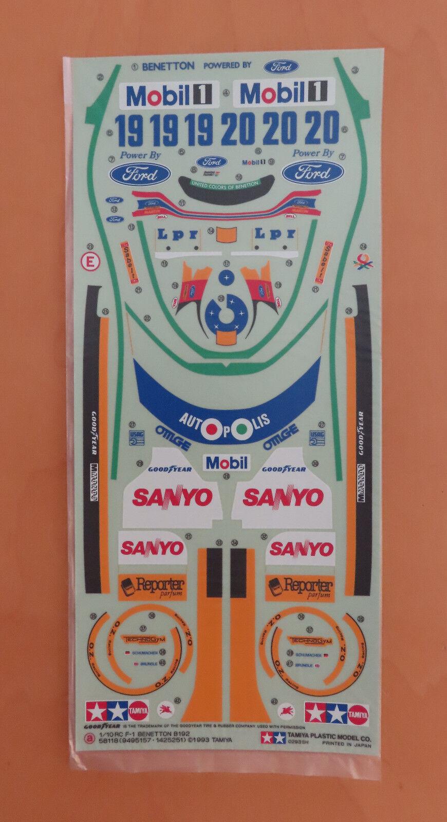RC Tamiya Decal Benetton B192 58118 NEU NIB 1993