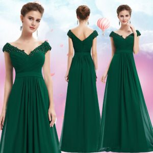 Image Is Loading Ever Pretty Green Bridesmaid Dresses V Neck Long