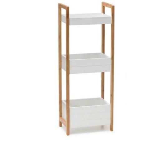Bamboo 3 Tier Bathroom Laundry Caddy White Storage Bins Wooden Towels Toiletries Ebay
