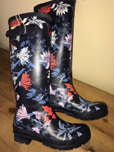 JOULES Wellies Navy Fanfayre Welly Boots Sz 3 4 6 7 8 FreeUKP/&P
