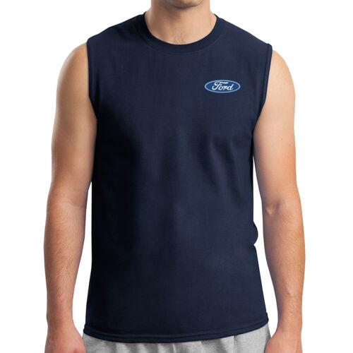 Licensed FORD Logo on Left Chest Men/'s Sleeveless Ford Emblem Muscle Tee 1091P