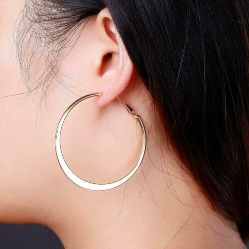 3cm 6cm Stunning Creoles Gold Plated Round Circle Stainless Steel Hoop Earrings