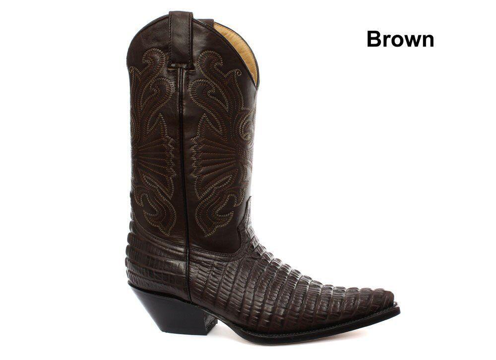 Grinders Carolina CROC Marrón Cowboy Leather Crocodile Tail botas Cowboy Marrón Western botas 920572