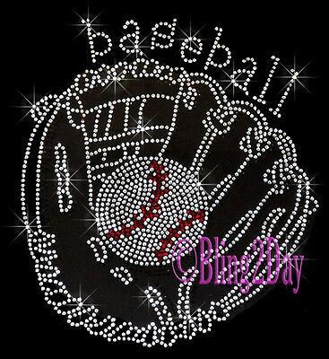 Glove - Baseball - Mitt - Iron On Rhinestone Transfer Hot Fix Bling Sports Mom