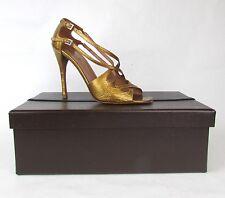 "ALAIA  38.5 Gold ""CROC"" Criss Cross Animal Print Open Toe Sandals Heels BOX&BAGS"