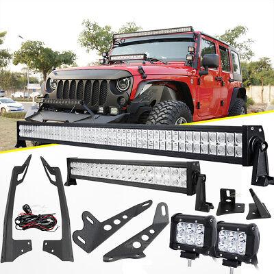 For Jeep Wrangler Jk 52 1000w 22 Led Light Bar Mount Bracket 18w Pods Sahara Ebay