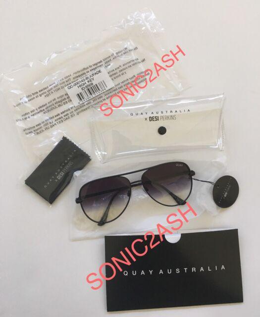 b0870cdf7f6 NEW AUTHENTIC QUAY AUSTRALIA HIGH KEY Black Fade Sunglasses Desi Perkins  Aviator