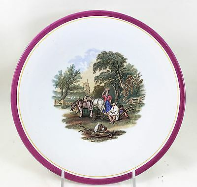 SET 6 FAB ANTIQUE C1870 ASHWORTH 8106 CHINA LUNCHEON PLATES COUNTRY SCENES WHITE