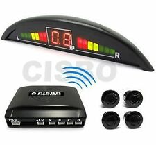 YELLOW CISBO WIRELESS CAR REVERSING PARKING SENSORS 4 SENSOR KIT LED DISPLAY