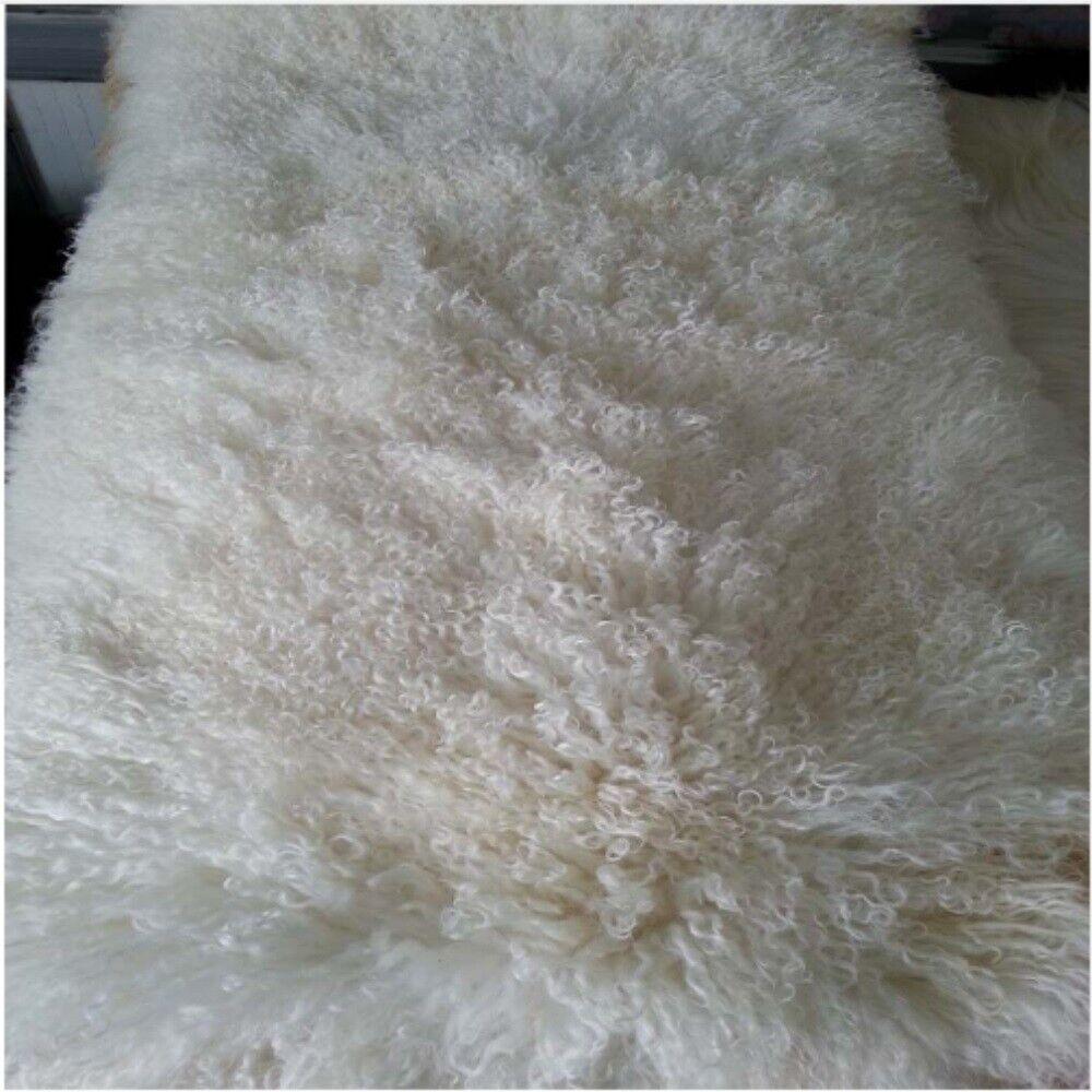 PURE WHITE 60x95CM REAL TIBETAN MONGOLIAN SHEEPSKIN LONG WOOLFUR HIDE PELT RUG