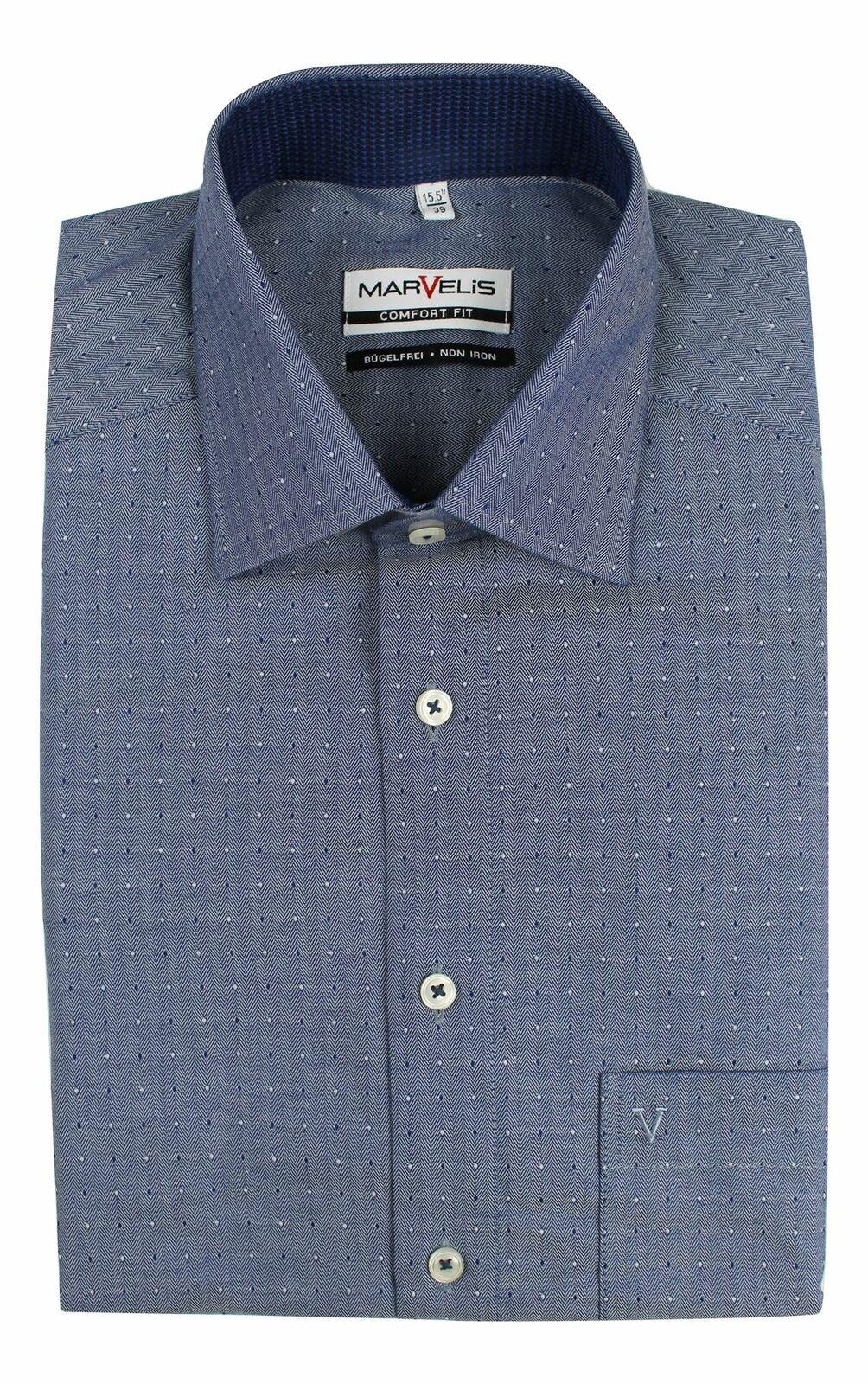 Blue Herringbone Spread Collar