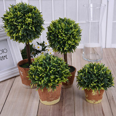 Artificial Fake Green Potted Plants Plastic Tree Garden Home Table Office Decor