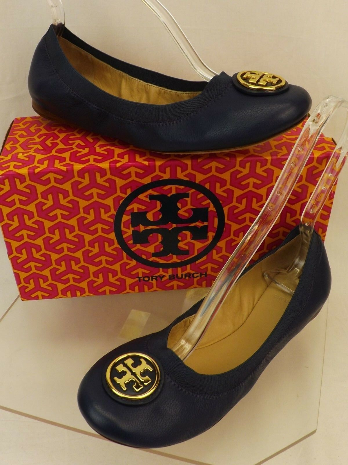 New in Box Tory Burch Caroline 2 newport navy cuir REVA Nellie Ballerines 8.5