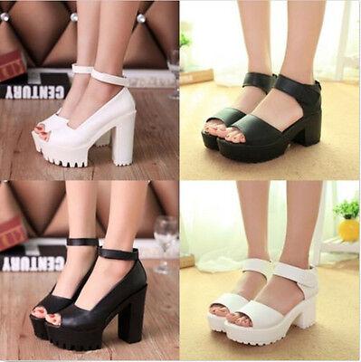 Women Peep Toe High Heel Platform Creeper Shoes Open Toe Gladiator Block Sandals