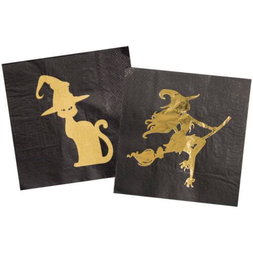 Servietten Goldene Hexe 20 Stück mit metallischen Effekt Neu /& OVP