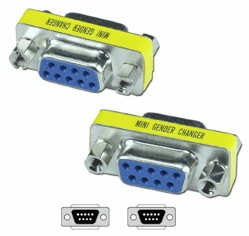 TWO 2X DB9 Female to Female Adapter Adaptor Gender Changer Serial RS232 Coupler