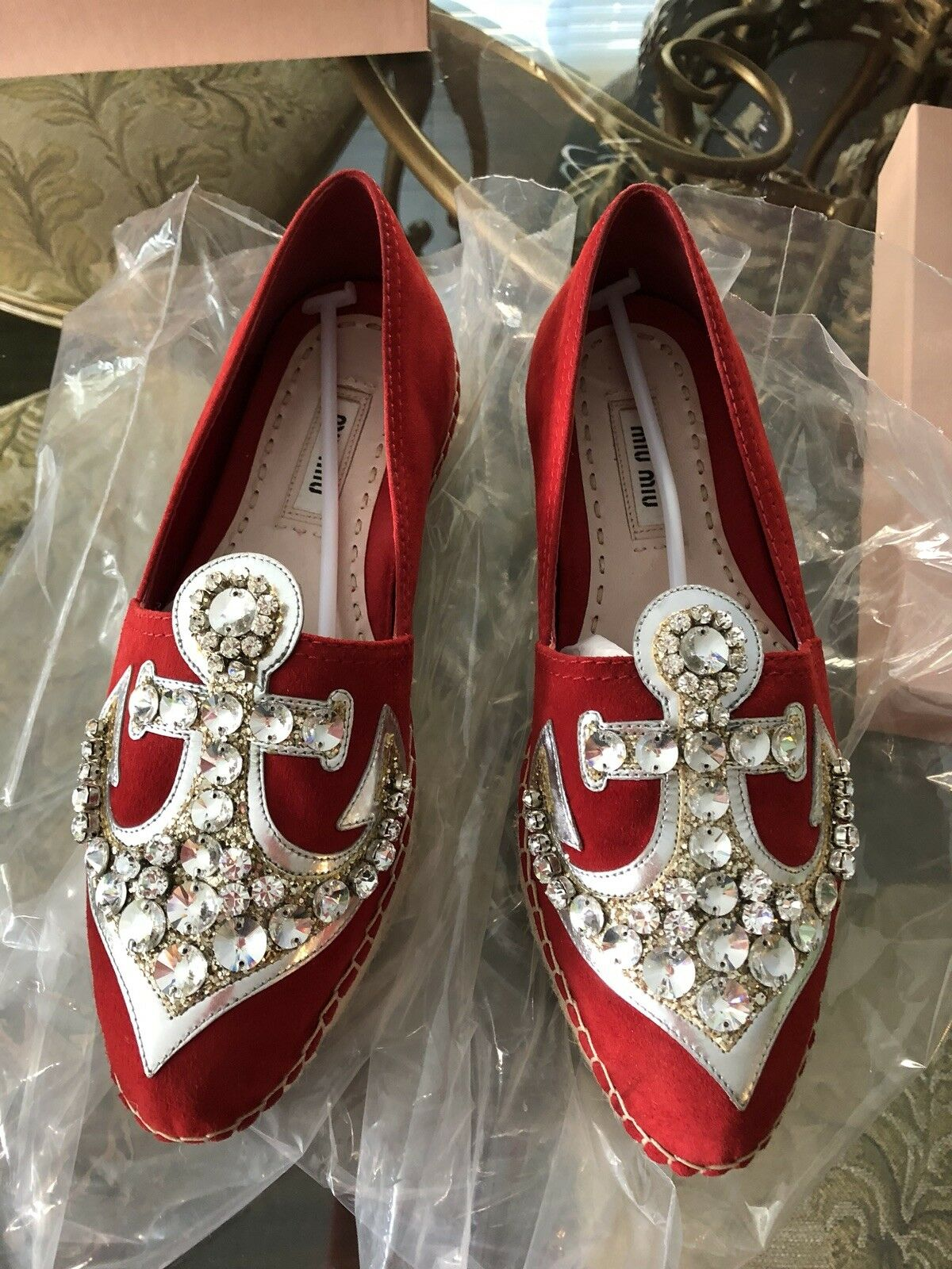 100% Authentic Miu Miu Red Suded with Crystal shoes Size  36.5  800