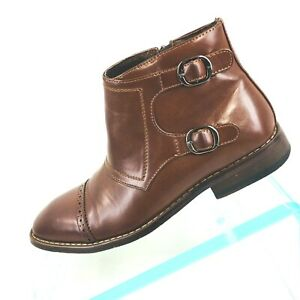 852cdce9a7a Details about X-Ray Mens Sz 7.5 Brown Double Buckle Leather Chelsea Dress  Fashion Boots LCS1