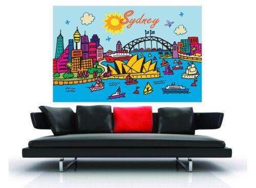 a1 size large sydney harbour bridge art print modern blue