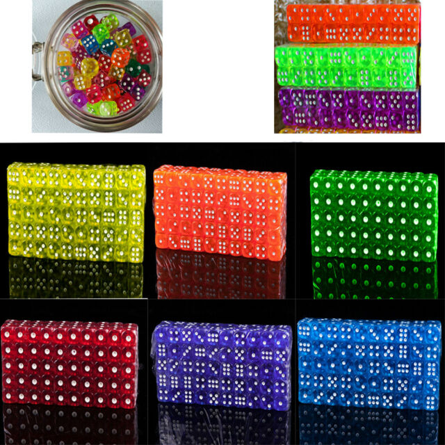 10Pcs Acrylic Pearl Round Corner Dice 6 Sided Dice Table Games Party Tool