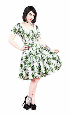 RETRO 40's 50's PEAR PRINT COLLAR DETAIL CIRCLE JIVE SWING PROM DRESS 8 - 18