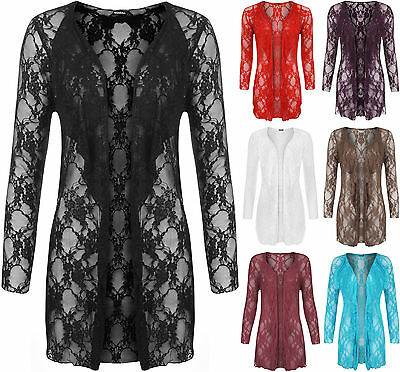 Begeistert New Uk 14-28 Womens Plus Size Full Sleeve Floral Lace Waterfall Open Cardigan 100% Garantie
