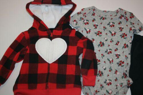 New Carter/'s Girls 3 Piece Buffalo Cardigan Heart Cardigan Top Pant Set 3 6 9 12