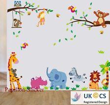 Animale Giungla / Orsetto / Gufo KID Nursery Baby Adesivo Parete Decalcomania Decorazione ARTE