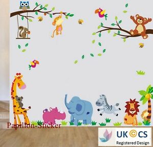 jungle animal teddy bear owl kids nursery baby boy girl wall sticker