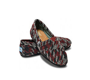 0f67d0ed7c4 Image is loading TOMS-BURGANDY-HOUNDSTOOTH-WOMEN-039-S-CLASSICS-SHOES-