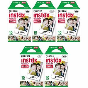 5 Packs 50 Instant Photos FujiFilm Fuji Instax Mini Film Polaroid 7S 8 50S SP-1