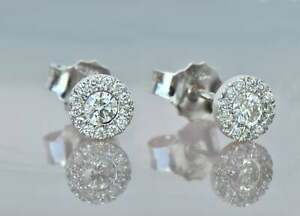 1Ct Round and Baguette Simulated Diamond Halo Stud Earrings 14K White Gold