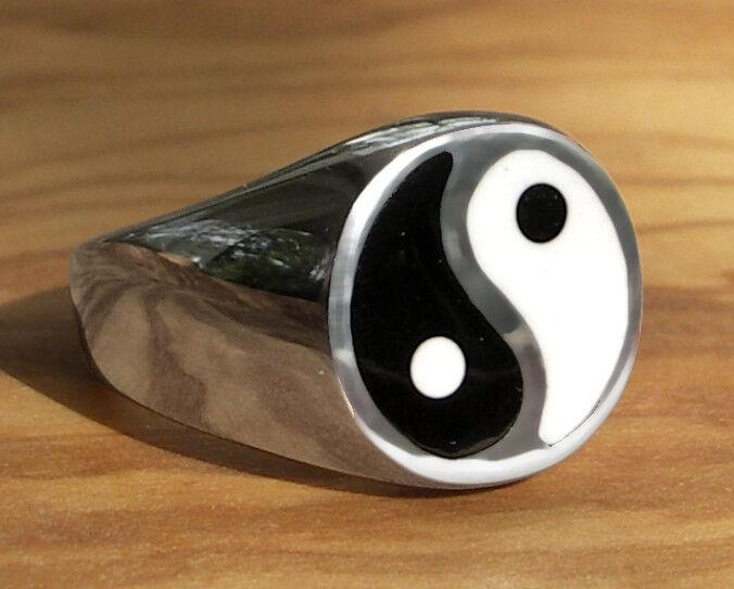 925 ECHT silver ☯☯☯ Großer massiver Yin-Yang Ring Siegelring, Größenauswahl